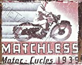 1939 MATCHLESS MOTOR CYCLE GARAGE METAL SIGN RETRO VINTAGE STYLE 8x10in 20x25cm MOTOR BIKE MOTORCYCLE garage shed wall art
