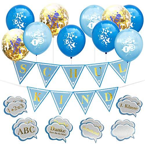 Oblique Unique Schuleinführung Schulanfang Einschulung Deko Set für Jungs - Konfetti Luftballon Set mit ABC 123 Zuckertüte Motiv + 1 Schulkind Wimpel Girlande + Konfetti Set