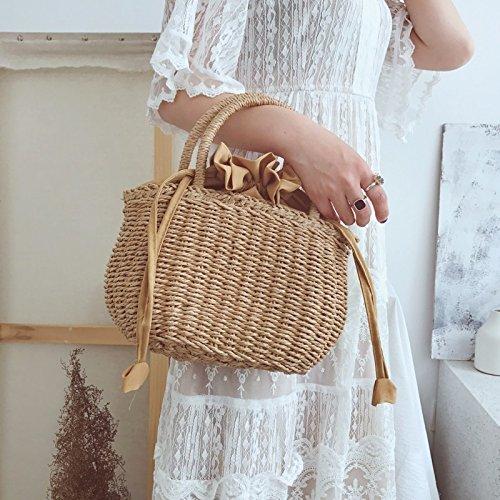 GTVERNH Korb-Taschen Stroh Gewebte Taschen Einfache Wild Beach-Taschen Stroh Aus Rattan Koffer Handtaschen Frauen-Taschen.Gelb