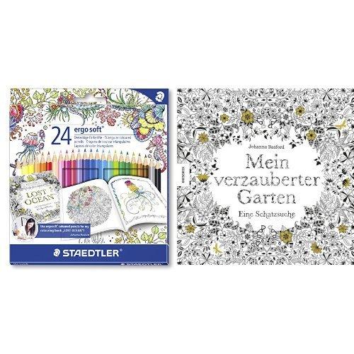 Set - STAEDTLER Buntstifte ergosoft Set 24 Farben und Johanna Basford - Mein verzauberter Garten: Eine Schatzsuche