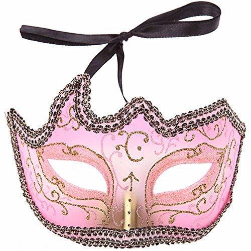 (PromMask Masken Gesichtsmaske Gesichtsschutz Domino falsche Front Karneval Make-up Tanz Halbes Gesicht Maske Party Laufstegshow Schwarz Spitze gemalte Maske Pink)