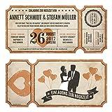 Lasergeschnittene Hochzeitseinladungen (30 Stück) - Vintage Ticket Luftballons - Hochzeitskarten