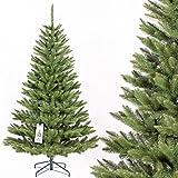 FAIRYTREES arbre sapin artificiel de Noêl EPICÉA NATUREL, tronc d'arbre vert, matière PVC, socle en métal 180cm