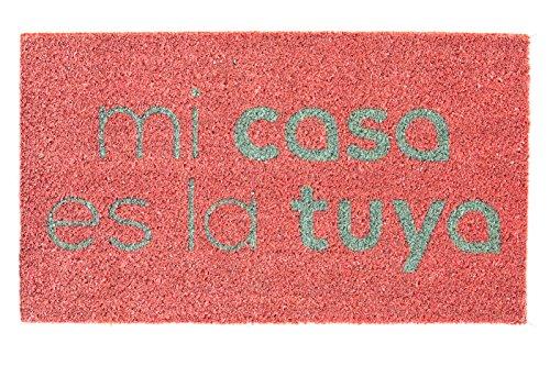 Fisura DM0340 Felpudo Divertido Entrada Mi Casa es la Tuya 40x70cm Rosa y Turquesa Original TV Bertin Osborne