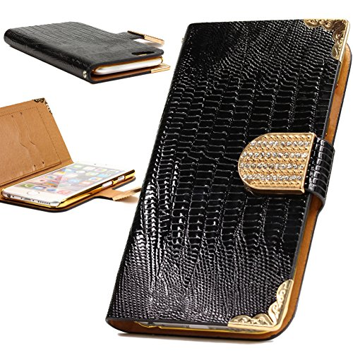Urcover® iPhone 6 6S Hülle, Crocodile Edition Wallet mit [ Magnet Stand-Funktion ] Bookstyle Flip Case Etui Cover Handytasche Schutzhülle für Apple iPhone 6 / 6S Farbe: Schwarz Schwarz