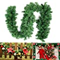 9FT/2.7M Christmas Garland Decoration Plain Green Undecorated Wreath Garland Xmas Green Pine Garland