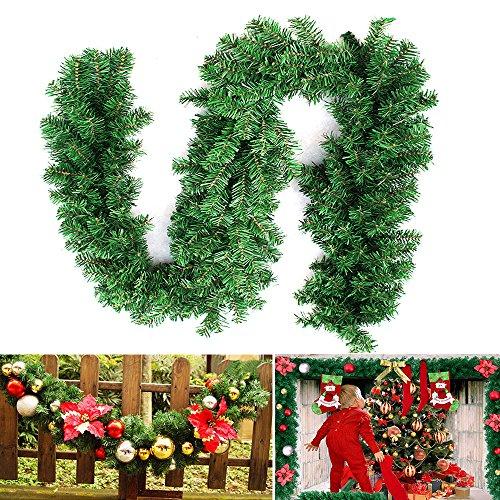 2.7M Weihnachtsgirlande Tannengirlande Weihnachtsdeko Efeugirlande künstliche Weihnachten Girlande Dekorieren Tannen Grün Natur 2.7M