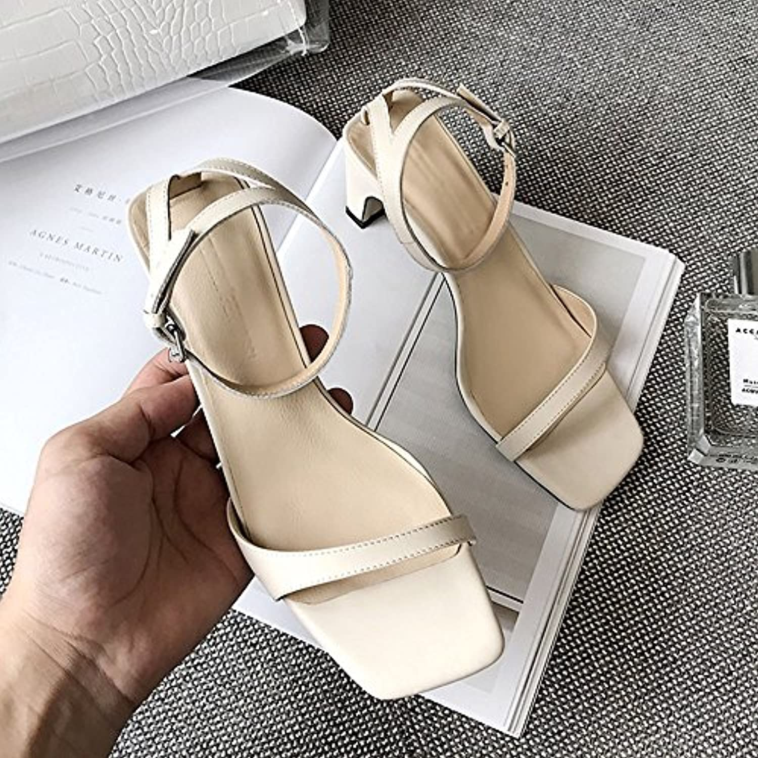 a2031869e9af6 Square Summer With Open Toe Toe Toe Thick With High Heels Simple Fairy Shoes  (Color