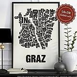 Graz Buchstabenort Schwarz auf N