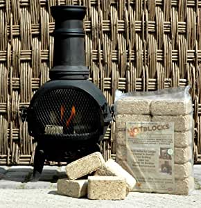 BRITISH MADE WOOD Fuel Pack . kit contains 24 high heat wood briquettes and 28 firelighters