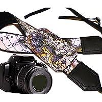 Weltkarte Kameragurt mit Objektiv Tasche. Europa, Asien, Amerika. Schwarz DSLR/SLR Kamera Gurt. Robust, leichtes und gut gepolstert Kamera Strap. Code 00252