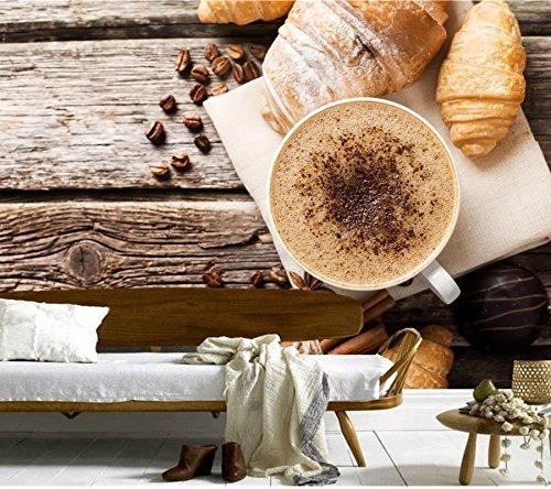YSDECOR Benutzerdefinierte Kaffee Croissant Zimt Tasse Korn Lebensmittel Tapete Coffee Shop Bar Esszimmer Tv Hintergrund Küche Schlafzimmer 3D Wandbilder - Zimt 12 Bar