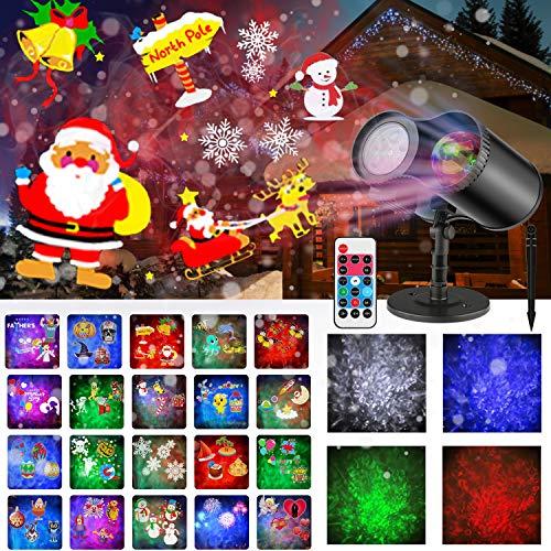 MOREASE Projecteur Noël Exterieur, Projecteur LED Lumières de Décoration Noël Imperméables avec 20 Motifs Approprié pour l'Usage Extérieur et Intérieur