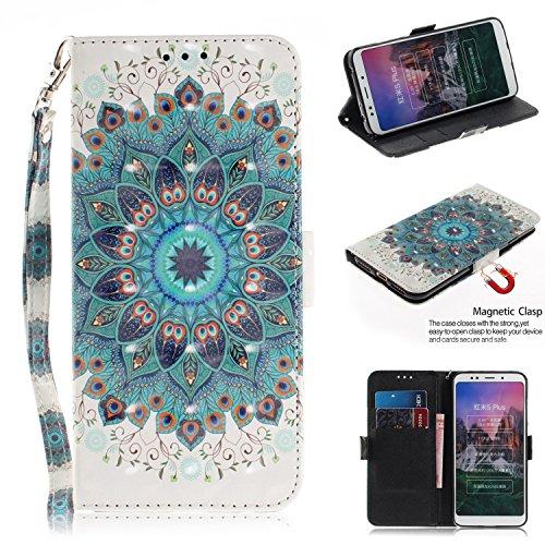 Xiaomi Redmi 5 Plus Handyhülle,Xiaomi Redmi 5 Plus Hülle,WIWJ PU Cover Case Leder[3D Lackiertes Verbindungsmittel Bracket Holster]Hülle für Xiaomi Redmi 5 Plus-Pfau-Kranz