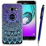 Samsung Galaxy A3 / 2016 Coque, Yokata TPU Silicone Transparente Cover Gradient Mandala Case Housse Flexible Soft Doux Ultra Mince Étui + 1*Stylus