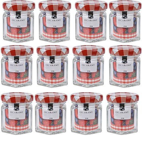 12 Mini Pots à Confiture en Verre 45 ML - Bocaux à confiture avec couvercle