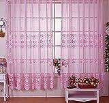 Seite Bside Rod Pocket Top Romantik-Stil Blossom Jacquard Vorhänge, Gardinen Voile Fenster Behandlungen für Wohnzimmer Schlafzimmer und Kinder (1Panel, W 52x l 213,4cm, Pink), rose, 52W x 95L Inch, 1 Panel