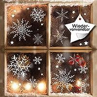 Fensterbild Wunderschöne Schneeflocken im Set – WIEDERVERWENDBAR – 24 filigrane Aufkleber Schneeflocken und Sterne von Wandtattoo-Loft® / Fensteraufkleber/Fensterbilder / Fensterdeko Set