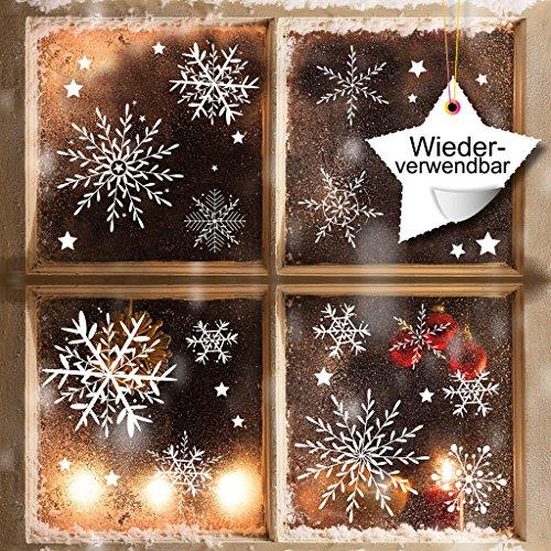 Fensterbild Wunderschöne Schneeflocken im Set – WIEDERVERWENDBAR – 24 filigrane Aufkleber Schneeflocken und Sterne von Wandtattoo-Loft® / Fensteraufkleber / Fensterbilder / Fensterdeko Set
