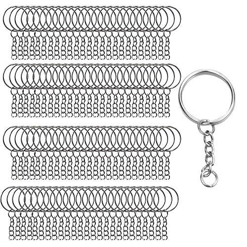 Schlüsselanhänger Kette 200 Stück - Schlüsselanhänger mit Gliederkette & Spaltringe 100 Stück (Jeweils) - Offene Biegeringe für Schlüssel, DIY Schmuckherstellung, Bastelprojekte mit 24mm Durchmesser