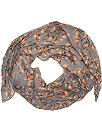 Magnolia Flowers Print Scarves for Women Lady Large Size Scarf (Charcoal grey)