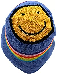 CROCHET BUCKET HAT HIPPIE FESTIVAL BLUE RAINBOW STRIPE ACID HOUSE SMILEY FACE
