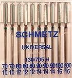 Schmetz Aghi piatti Universal per macchina da cucire, misure 70–100,130/705, confezione da 10 pezzi
