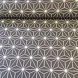 Tischdeckenstoff - Dekostoff - Acryl-und Teflon-beschichtet - 140 cm breite - Meterware ab 53 cm - Preis gilt für 53 cm | Geometrisch. Grau, weiß