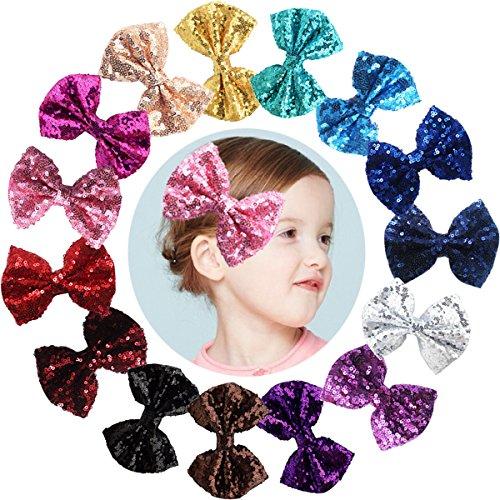15 barrettes Boutique de 8 cm avec nœud à paillettes, barrettes à pince crocodile pour cheveux en nylon pour fête, pour filles, enfants