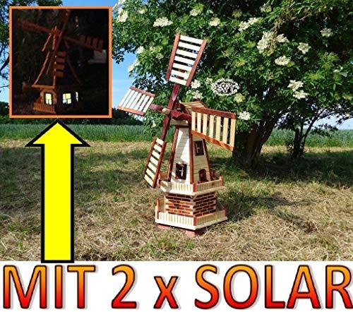XXL Windmühle SOLAR,WETTERFEST, Gartenwindmühle 100 cm, zweistöckig 2 Balkone aus Holz,WETTERFEST, Garten windmühlen, MIT SOLAR - AUTOMATIK / Solarleuchten + Solarmodul, Solarbeleuchtung DOPPEL-SOLAR -