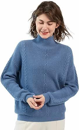 ZHILI - Maglione da donna in 100% cashmere a collo alto, a maglia