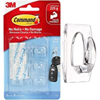 Command Mini Decorating Hooks for walls, 6 Hooks and 8 Strips,Self Adhesive, Holds 225gm, Damage Free Walls, Transparent