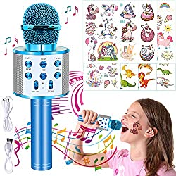 Karaoke Bluetooth-Mikrofon, 4-in-1, Karaoke-Mikrofon, tragbar, mit LED-Ball, für Kinder, Singen, Eco-Funktion, kompatibel mit PC, AUX oder Android/iOS-Smartphone