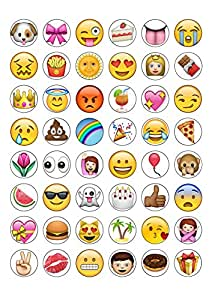 48 round edible wafer paper iphone emoji cake toppers