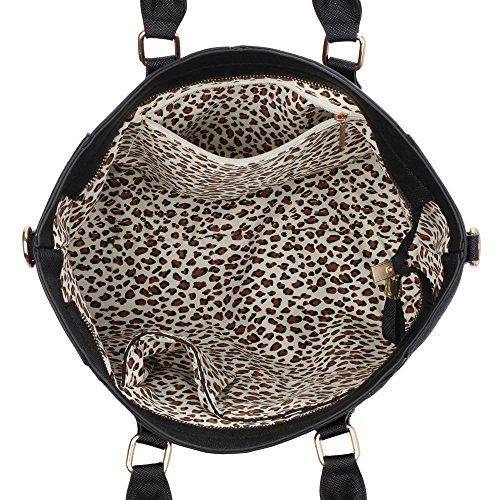 LeahWard® Tragetaschen Zum Damen mode Qualität Herrlich Kunstleder Berühmtheit Stil Vorhängeschloss Tasche Damen Schnell verkaufend Handtasche CWS0031A CWS0031L Schwarz/Weiß