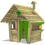 FATMOOSE Maisonette de jeux HippoHouse Heavy XXL Cabane entfant jardin bois avec toit en bois, cheminée et plus large contre