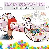 Malayas Kinder Spielzelt 3-Teiliges Kinderzelt mit Krabbel Tunnel und Basketball-Korb Pop-up zusammenklappbar Bällebad und Tasche zu Hause und im Freien für Kinder Jungs Mädchen