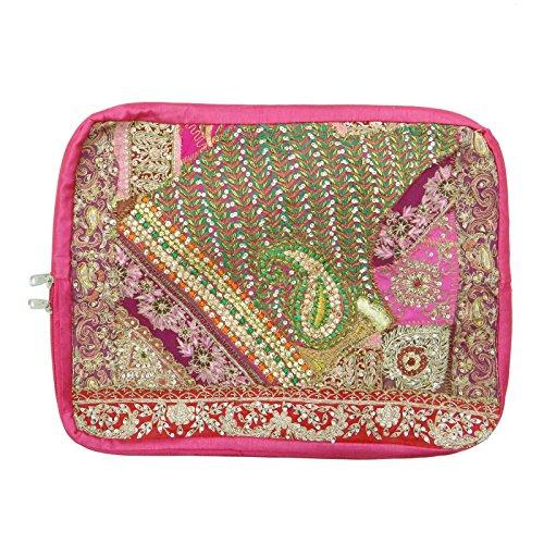 Ethnische handgemachte Gestickte Perlen Barren Laptop Bag Banjara Patchwork-Kasten