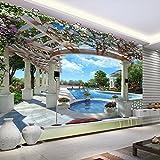 Amazhen Kundengebundene Blaue Himmel-Wolken-Swimmingpool-Tapeten des weißen Himmels 3D für Wohnzimmer Sofa TV Hintergrund-Wandbild Tapete,500cmx280cm