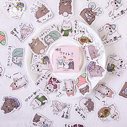 Niuluoke Luxuriant 45 Piezasset Kawaii Cat Friend Cute Cartoon Stickers Coreana Papelería Notas Oficina Seal Pegatinas Escuela Suministros Scrapbook
