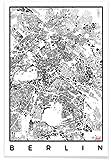 """JUNIQE® Poster 20x30cm Berlin Schwarz & Weiß - Design """"Berlin Map Schwarzplan"""" (Format: Hoch) - Bilder, Kunstdrucke & Prints von unabhängigen Künstlern - Kunst & Bilder von Berlin - entworfen von Hubert Roguski"""
