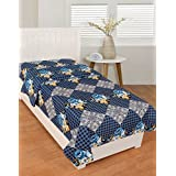 BSB Trendz Cotton Blue And White Clour With Small Boxes Printed Single Bedsheet Without Pillow Cover GSM-150 To 180, TC-180 Size-90x60 Inches