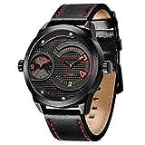 Menton Ezil Einzigartige Herrenuhr Armbanduhr für Männer Zwei Zeitzonen Datumszeige 3 ATM wasserdicht Echtlederband Business Sportlich Analog Quarzuhr