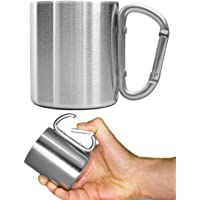 Outdoor Saxx® - Camping Mug,Outdoor Mug,Metal Mug,with Screw Carabiner Handle,Stainless Steel,Hiking,Trekking,Work,250ml…