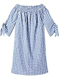 Scotch & Soda Maison Damen Kleid Off The Shoulder Dress in Striped Dobby Fabric with Sleeve t, Blau (Combo D 20), Small