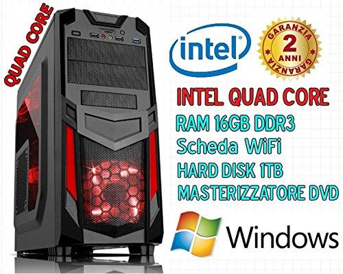 PC DESKTOP INTEL QUAD CORE RAM 16GB/HD 1TB/Wi-Fi incluso ASSEMBLATO