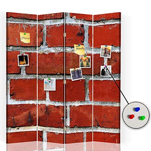 Feeby Separador con Corcho Muro Ladrillos 4 Paneles 360° Abstracto Rojo 145x175 cm