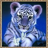 3D-Perlen-Malset, Kunst mit Ziersteinen zum Selbermachen, 3D-Stickerei, Basteln für Zuhause, Wand-Dekoration, 15.74''x15.74'' Big Tiger