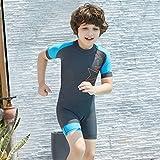 Kinder Ein Stück Neoprenanzug Badeanzug - Jungen Mädchen Bademode Kurzarm Taucheranzug Sonnenschutz UV 50+ Badeanzug Kleinkind Kind Body Rashguard Strand