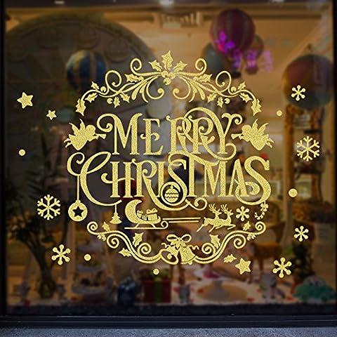 MiniWall Weihnachtsdekorationen großes Glas Fenster Sticker Gold Kranz Wall Poster Company Store Tür Storefront Geschenk, eine glamouröse Weihnachten Engel Girlande, Max.